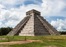 Kukulkan Pyramid (el Castillo) at Chichen Itza, Yucatan, Mexico. Black and white view of Kukulkan Pyramid (el Castillo) at the archaeological site of Chichen Stock Photos
