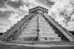 Kukulkan Pyramid (el Castillo) at Chichen Itza, Yucatan, Mexico. Black and white view of Kukulkan Pyramid (el Castillo) at the archaeological Royalty Free Stock Image