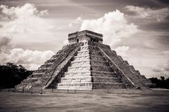 Kukulkan Pyramid (el Castillo) at Chichen Itza, Yucatan, Mexico. Black and white view of Kukulkan Pyramid (el Castillo) at the archaeological site of Chichen Royalty Free Stock Photography