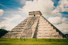 Kukulkan Pyramid (el Castillo) at Chichen Itza, Yucatan, Mexico. View of Kukulkan Pyramid (el Castillo) at the archaeological site of Chichen Itza, Yucatan Royalty Free Stock Images