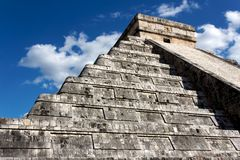 Kukulkan Pyramid Looming above Chichen Itza Stock Photos