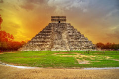 Kukulkan pyramid at sunset stock photo