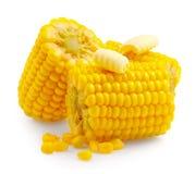 Kukurudz gręple odizolowywać na bielu Sweetcorn z masłem Zdjęcia Stock