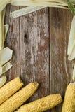 Kukurudza z kukurydzanej plewy próbki otaczającym nieociosanym drewnianym stołowym tekstem Zdjęcia Royalty Free