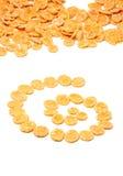Kukurydzanych płatków kreatywnie rozrzucony Fotografia Royalty Free