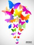 Kulör abstrakt bakgrund med fjärilar Royaltyfri Fotografi