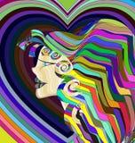 Kulör abstrakt flicka Arkivbild