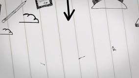 Kulör animering av affärsplanet som dras in i notepaden stock illustrationer