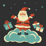 Kulör bakgrund med Santa Claus Arkivfoto
