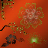 kulör blommalutningillustration Arkivfoton