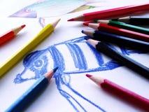 kulör blyertspenna Royaltyfri Fotografi