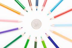 Kulör blyertspenna med dollaren Royaltyfri Bild