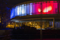 Kulör byggnadsEXPO 58 i Prague, Tjeckien Arkivfoton