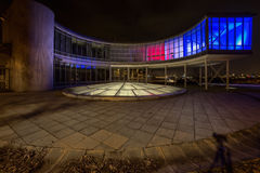 Kulör byggnadsEXPO 58 i Prague, Tjeckien Arkivfoto