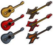 Kulör elkraft för tecknad film och uppsättning för akustisk gitarr stock illustrationer