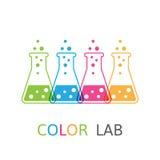 Kulör flaskalogo för kemikalie vektor illustrationer