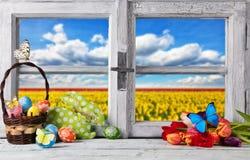 Kulör garnering för påsk på träfönster royaltyfria foton