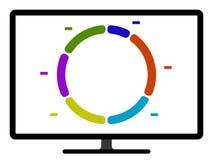 Kulör graf för pajdiagram på en datorskärm Stock Illustrationer