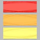 Kulör horisontalbanerdesignuppsättning - vektordiagram med slumpmässiga kurvor vektor illustrationer