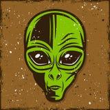 Kulör illustration för grön främmande head vektor Vektor Illustrationer