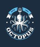 Kulör illustration för logo för bläckfisk för djupt hav för vektor Royaltyfri Foto