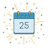 Kulör jul calendar symbolen i den tunna linjen stil Royaltyfria Foton