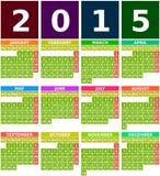 Kulör kalender 2015 i plan design med enkla fyrkantiga symboler Arkivfoto