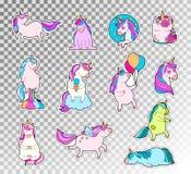 Kulör klotteruppsättning av den gulliga enhörningen Vektorn skissar illustrationen av enhörningsinnesrörelseklistermärken Royaltyfri Foto