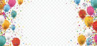 Kulör konfetti sväller den genomskinliga titelraden stock illustrationer