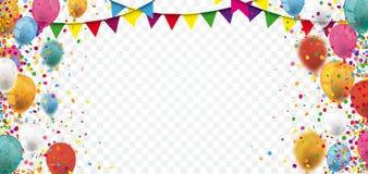 Kulör konfetti sväller den genomskinliga titelraden för Festoons vektor illustrationer