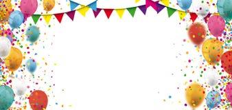 Kulör konfetti sväller Festoonstitelraden royaltyfri illustrationer