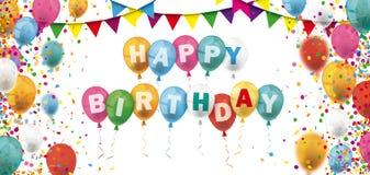 Kulör konfetti sväller lycklig födelsedag för Festoonstitelrad vektor illustrationer