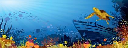 Kulör korallrev med den gula sköldpaddan Royaltyfri Foto