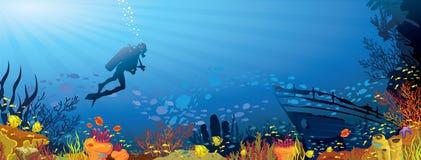 Kulör korallrev med fisken och dykare Arkivbilder