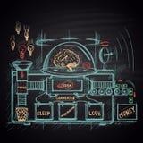 Kulör krita dragen illustration av hjärnmaskinen Modellen för framställning av pengar Royaltyfri Foto