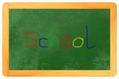 Kulör krita för skola på svart tavla Arkivbilder