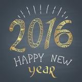"""Kulör krita målade illustrationen med 2016, text och prydnader """"för lyckligt nytt år"""" med guld- beståndsdelar Royaltyfri Fotografi"""