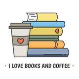 Kulör linje symbolsvisninghög av böcker och den pappers- koppen för kaffe med locket Arkivbild
