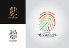 Kulör logo för fingeravtryck stock illustrationer