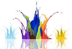 Kulör målarfärg plaskar på vit bakgrund, illustrationer Royaltyfri Bild
