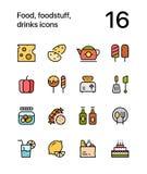 Kulör mat, livsmedel, drinksymboler för rengöringsduk och mobil designpacke 2 royaltyfri illustrationer