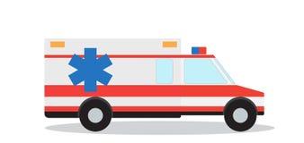 Kulör nöd- ambulans med sirenlägenhetdesign Vektorillus vektor illustrationer