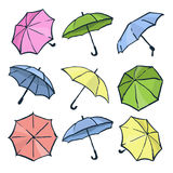 Kulör paraplysamling royaltyfri illustrationer