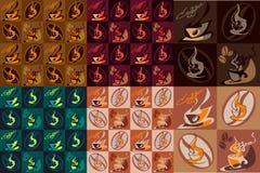 Kulör sömlös textur med kaffemodellen Royaltyfri Bild