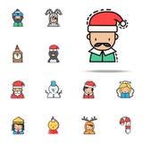 Kulör symbol för manjul Universell uppsättning för julavatarssymboler för rengöringsduk och mobil royaltyfri illustrationer