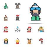 Kulör symbol för manjul Universell uppsättning för julavatarssymboler för rengöringsduk och mobil stock illustrationer
