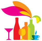 Kulör symbol för vektorflaskor drinkar stock illustrationer