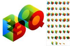 Kulör text i isometrisk sikt Arkivfoto