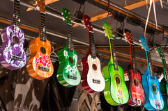 kulör ukulele royaltyfria foton