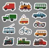 Kulör uppsättning för vektor av retro motorer och transportklistermärkear stock illustrationer